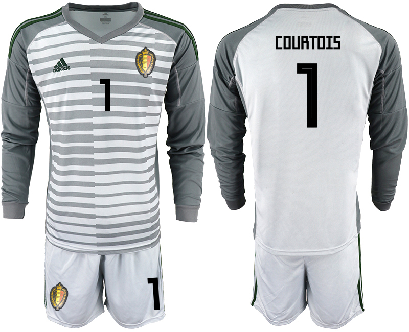 Belgium 1 COURTOIS Gray 2018 FIFA World Cup Long Sleeve Goalkeeper Soccer Jersey