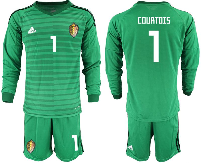 Belgium 1 COURTOIS Green 2018 FIFA World Cup Long Sleeve Goalkeeper Soccer Jersey