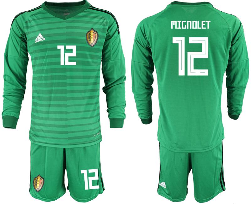 Belgium 12 MIGNOLET Green 2018 FIFA World Cup Long Sleeve Goalkeeper Soccer Jersey