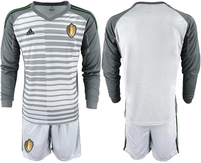Belgium Gray 2018 FIFA World Cup Long Sleeve Goalkeeper Soccer Jersey