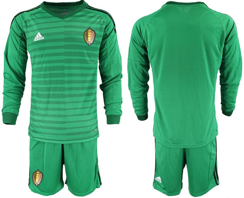 Belgium Green 2018 FIFA World Cup Long Sleeve Goalkeeper Soccer Jersey