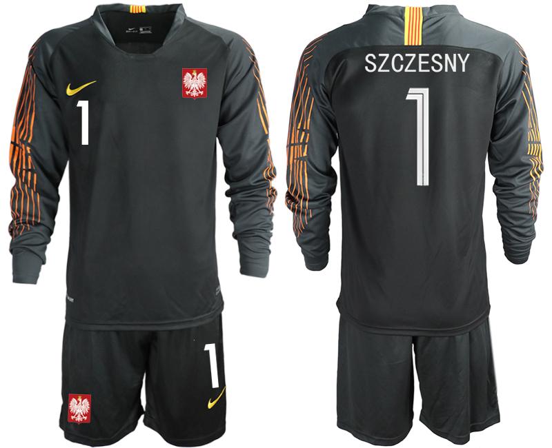 Poland 1 SZCZESNY Black 2018 FIFA World Cup Long Sleeve Goalkeeper Soccer Jersey