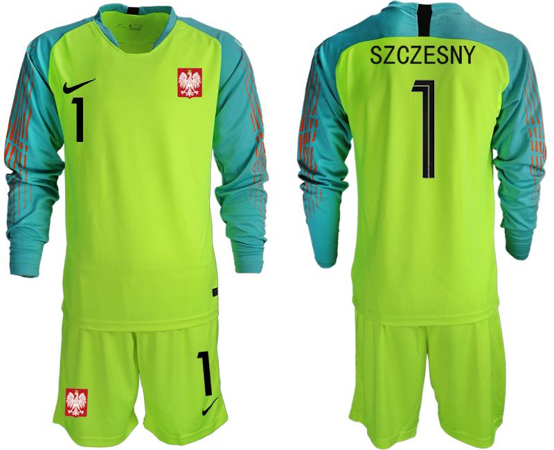 Poland 1 SZCZESNY Fluorescent Green 2018 FIFA World Cup Long Sleeve Goalkeeper Soccer Jersey