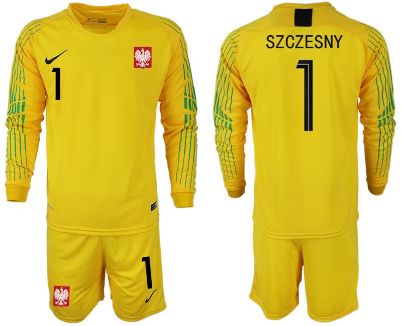 Poland 1 SZCZESNY Yellow 2018 FIFA World Cup Long Sleeve Goalkeeper Soccer Jersey