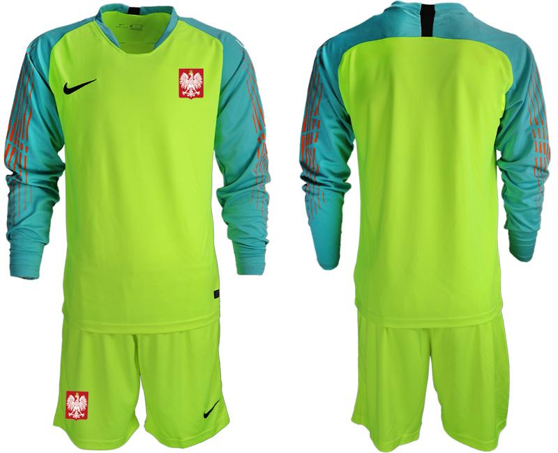 Poland Fluorescent Green 2018 FIFA World Cup Long Sleeve Goalkeeper Soccer Jersey