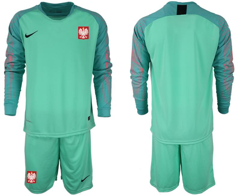 Poland Green 2018 FIFA World Cup Long Sleeve Goalkeeper Soccer Jersey