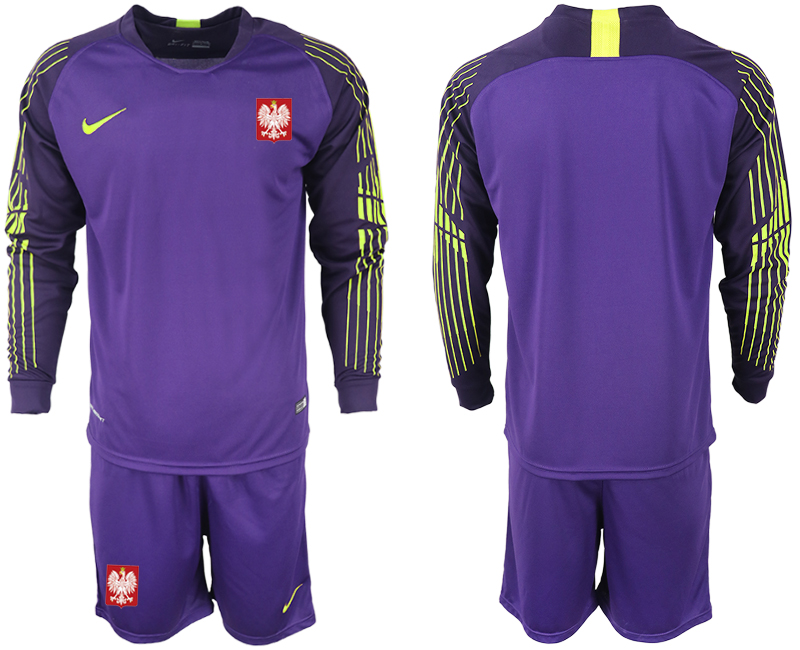 Poland Purple 2018 FIFA World Cup Long Sleeve Goalkeeper Soccer Jersey