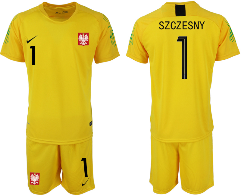 Poland 1 SZCZESNY Yellow 2018 FIFA World Cup Goalkeeper Soccer Jersey