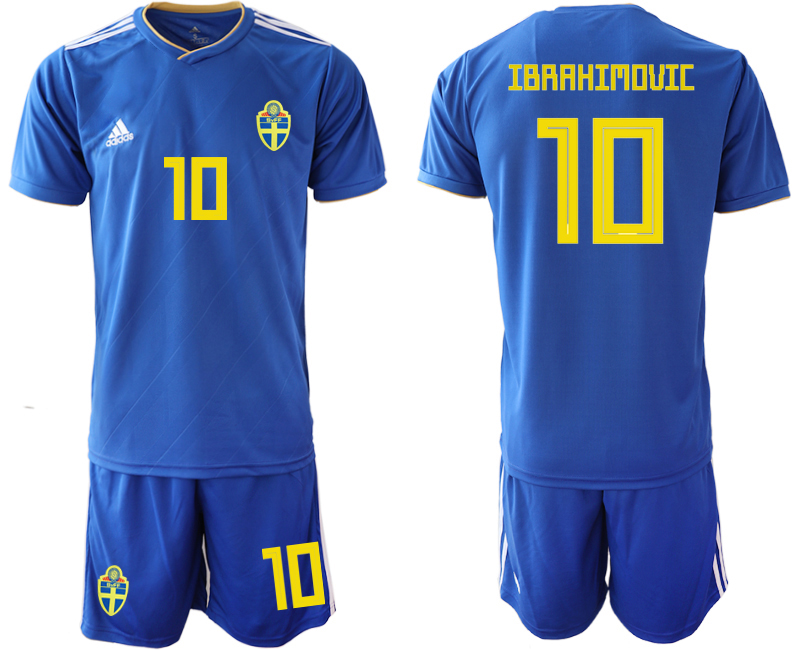 Sweden 10 IBRAHIMOVIC Away 2018 FIFA World Cup Soccer Jersey