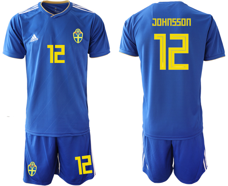 Sweden 12 JOHNSSON Away 2018 FIFA World Cup Soccer Jersey
