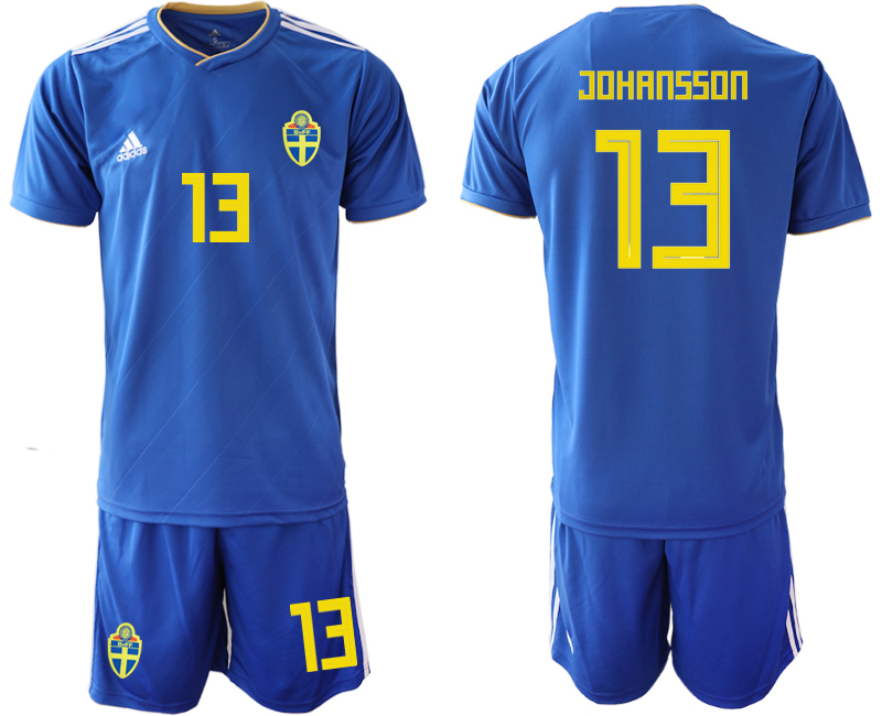 Sweden 13 JOHANSSON Away 2018 FIFA World Cup Soccer Jersey
