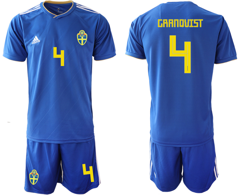 Sweden 4 GRANQVIST Away 2018 FIFA World Cup Soccer Jersey