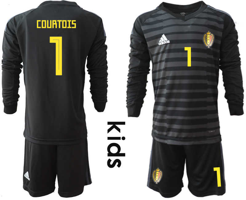 Belgium 1 COURTOIS Black Youth 2018 FIFA World Cup Long Sleeve Goalkeeper Soccer Jersey