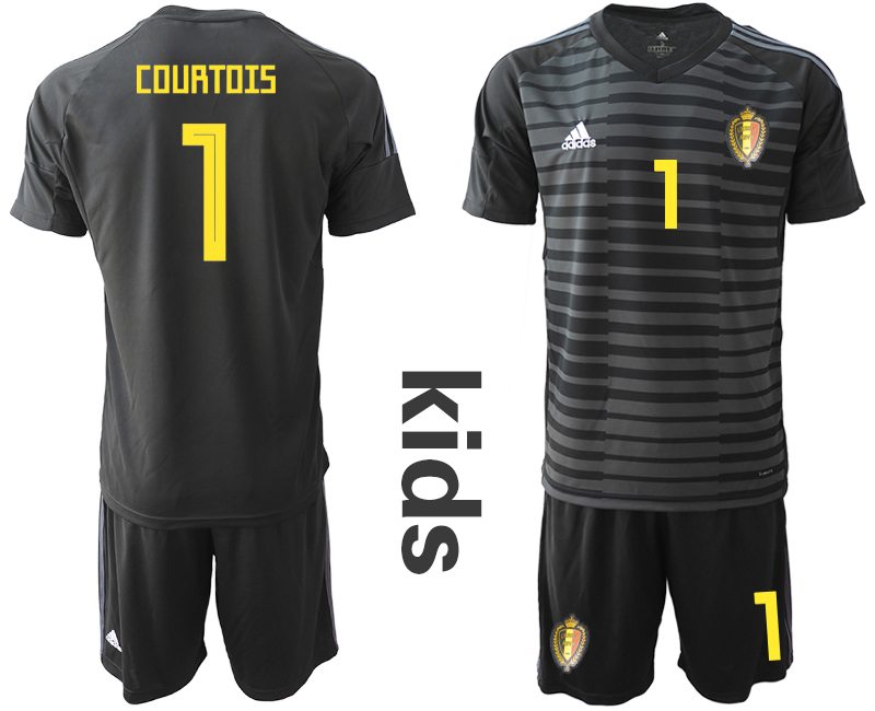 Belgium 1 COURTOIS Black Youth 2018 FIFA World Cup Soccer Jersey