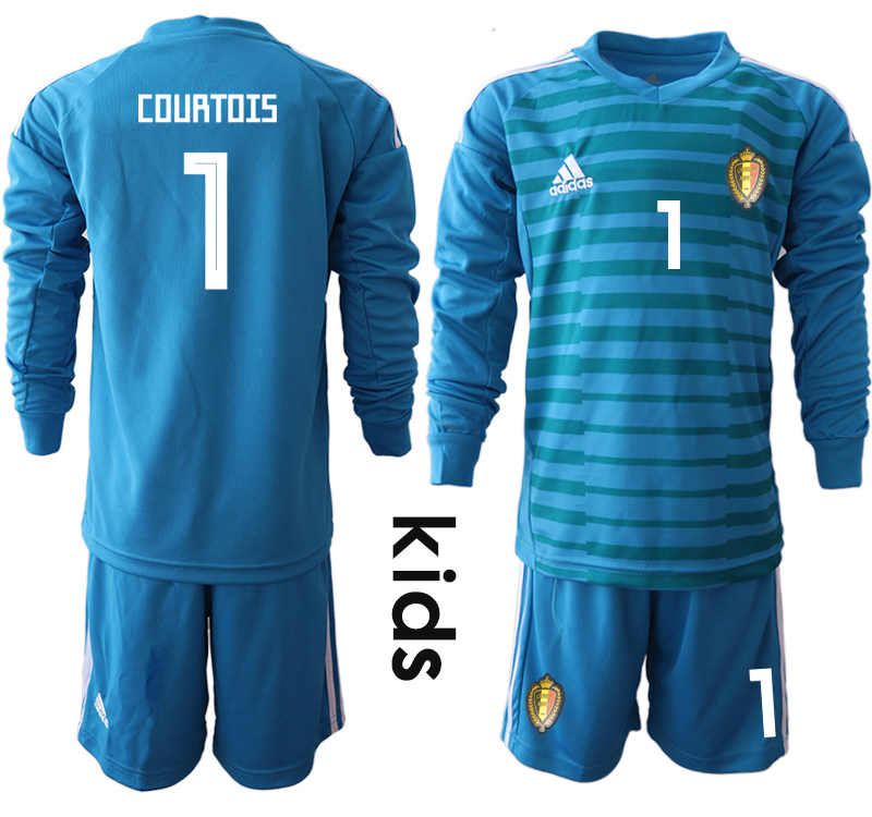 Belgium 1 COURTOIS Blue Youth 2018 FIFA World Cup Long Sleeve Goalkeeper Soccer Jersey