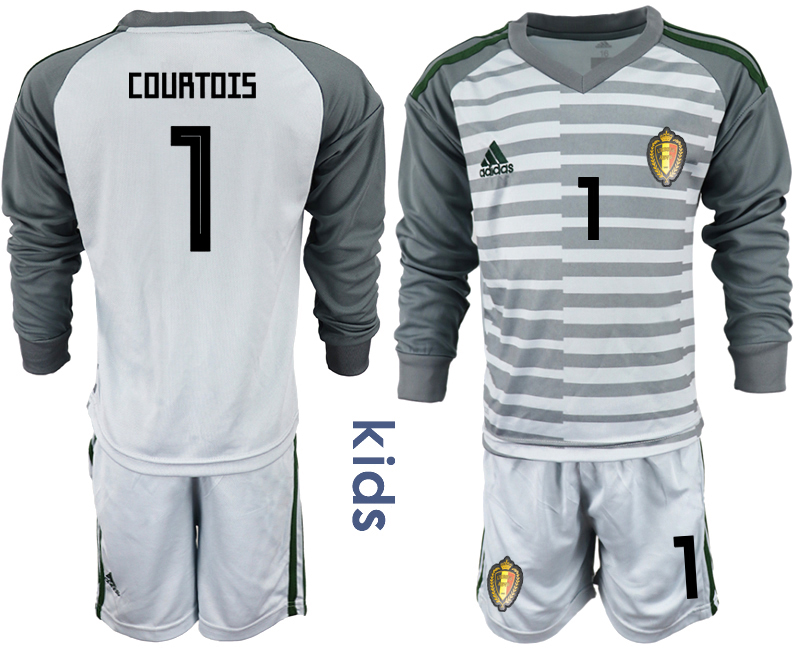 Belgium 1 COURTOIS Gray Youth 2018 FIFA World Cup Long Sleeve Goalkeeper Soccer Jersey