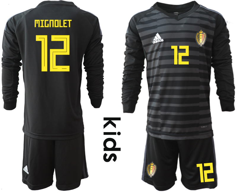 Belgium 12 MIGNOLET Black Youth 2018 FIFA World Cup Long Sleeve Goalkeeper Soccer Jersey