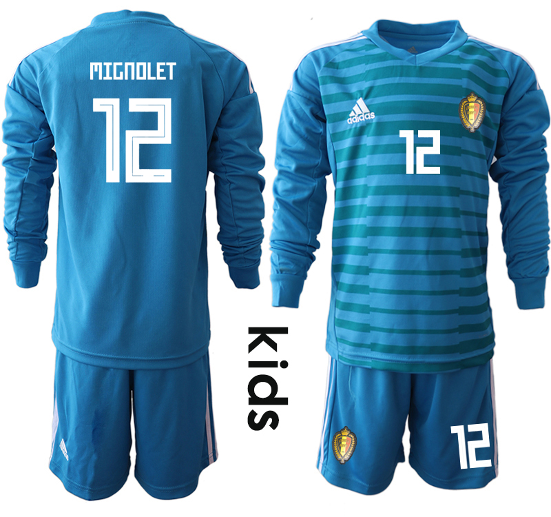 Belgium 12 MIGNOLET Blue Youth 2018 FIFA World Cup Long Sleeve Goalkeeper Soccer Jersey