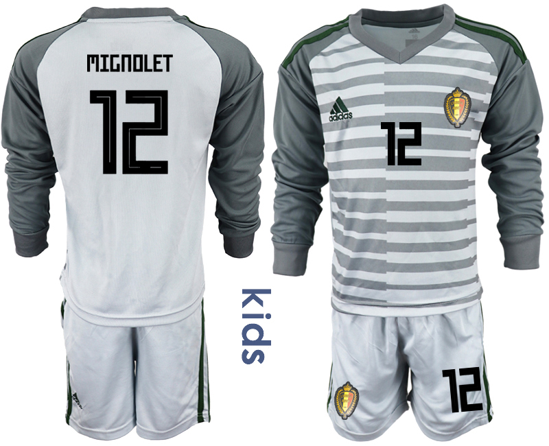 Belgium 12 MIGNOLET Gray Youth 2018 FIFA World Cup Long Sleeve Goalkeeper Soccer Jersey
