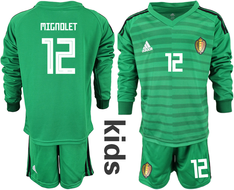 Belgium 12 MIGNOLET Green Youth 2018 FIFA World Cup Long Sleeve Goalkeeper Soccer Jersey
