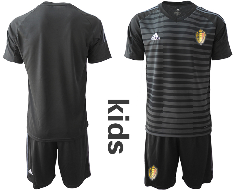Belgium Black Youth 2018 FIFA World Cup Soccer Jersey