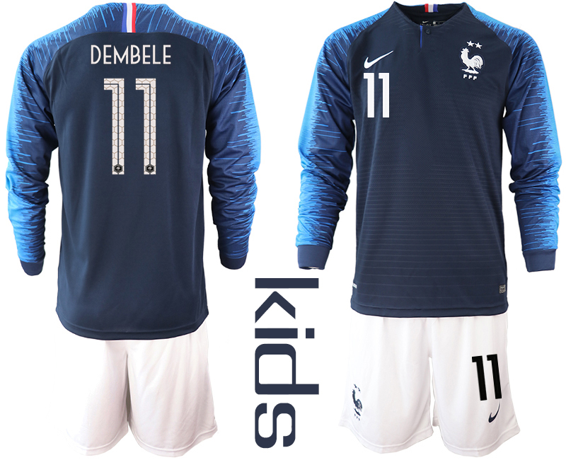 France 11 DEMBELE Home Youth 2018 FIFA World Cup Long Sleeve Soccer Jersey