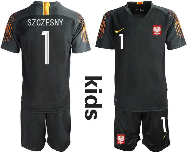 Poland 1 SZCZESNY Black Youth 2018 FIFA World Cup Goalkeeper Soccer Jersey