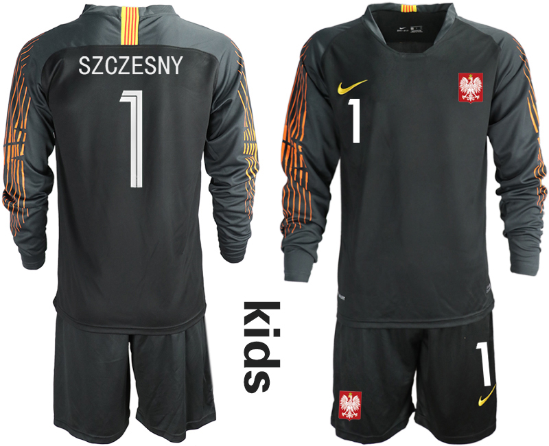 Poland 1 SZCZESNY Black Youth 2018 FIFA World Cup Long Sleeve Goalkeeper Soccer Jersey