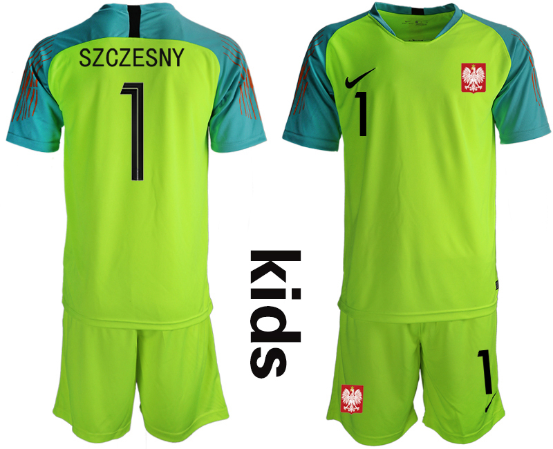Poland 1 SZCZESNY Fluorescent Green Youth 2018 FIFA World Cup Goalkeeper Soccer Jersey