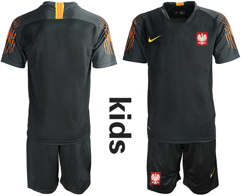 Poland Black Youth 2018 FIFA World Cup Goalkeeper Soccer Jersey