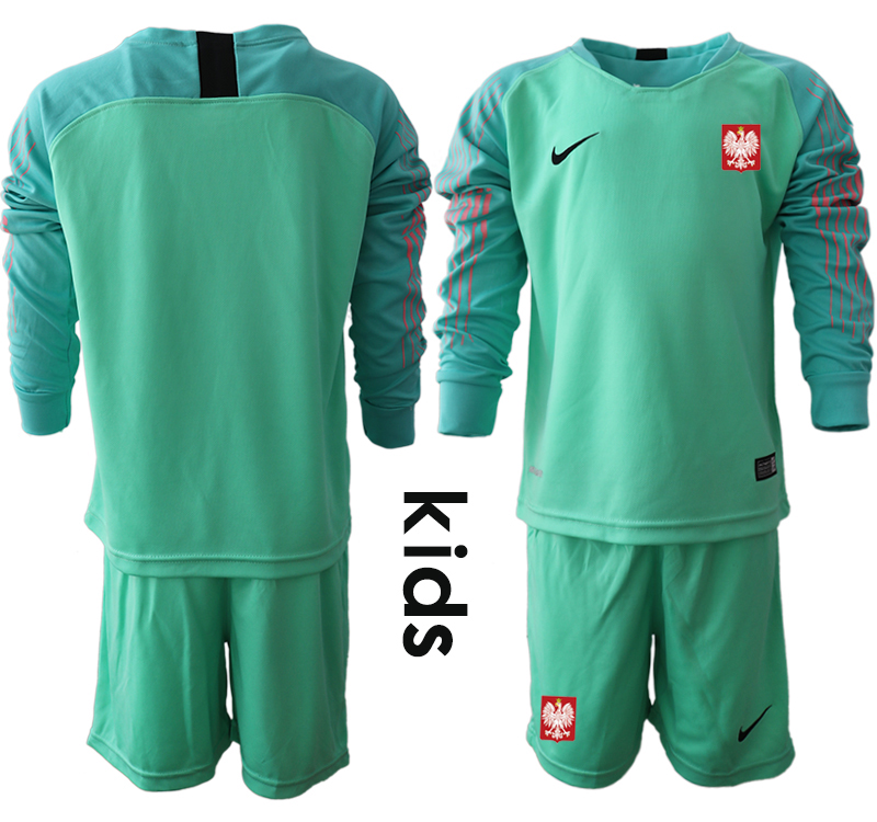 Poland Green Youth 2018 FIFA World Cup Long Sleeve Goalkeeper Soccer Jersey