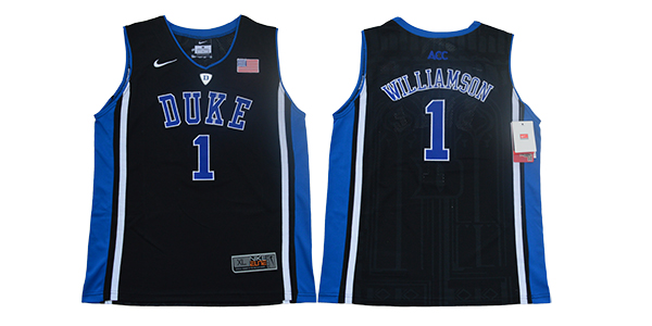 Duke Blue Devils 1 Zion Williamson Black Youth Nike College Basketball Jersey