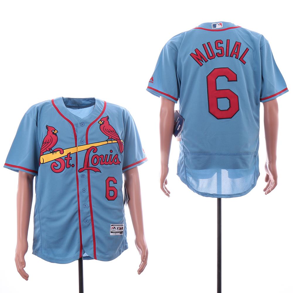Cardinals 6 Stan Musial Light Blue Flexbase Jersey
