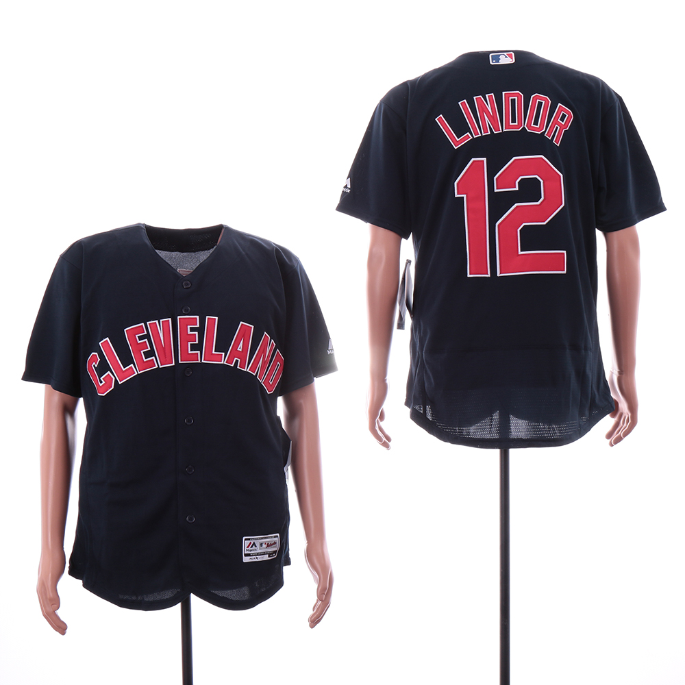 Indians 12 Francisco Lindor Navy Alternate Flexbase Jersey