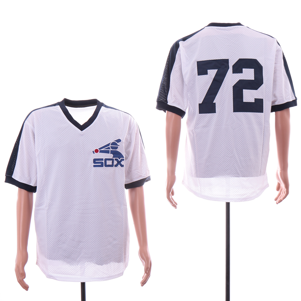 White Sox 72 Carlton Fisk Mitchell & Ness White Mesh Batting Practice Jersey