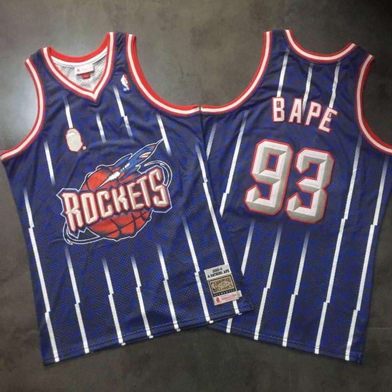Rockets 93 Bape Navy 2002-3 Hardwood Classics Jersey