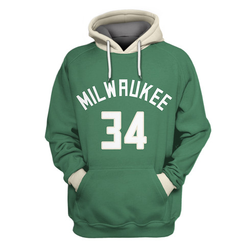 Bucks Green Throwback All Stitched Hooded Sweatshirt