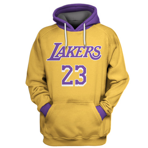 Lakers 23 Lebron James Gold All Stitched Hooded Sweatshirt
