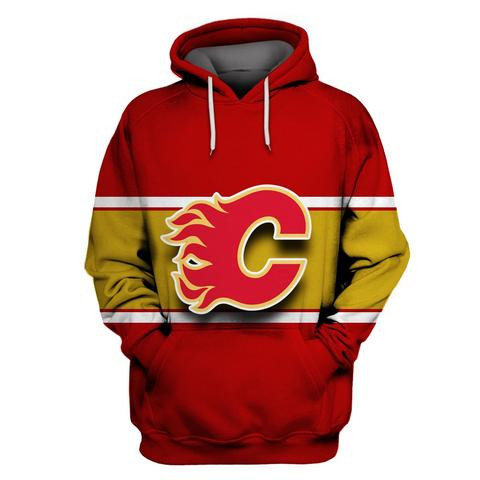 Flames Red All Stitched Hooded Sweatshirt