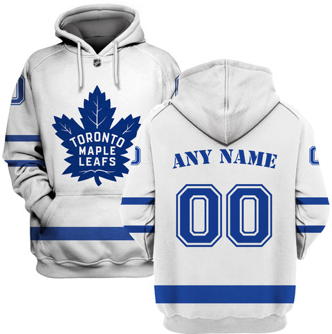 Maple Leafs White Men's Customized All Stitched Hooded Sweatshirt