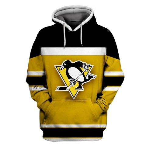 Penguins Yellow All Stitched Hooded Sweatshirt