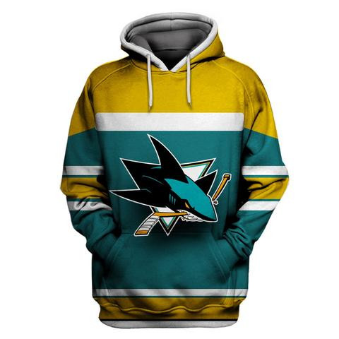 Sharks Green All Stitched Hooded Sweatshirt
