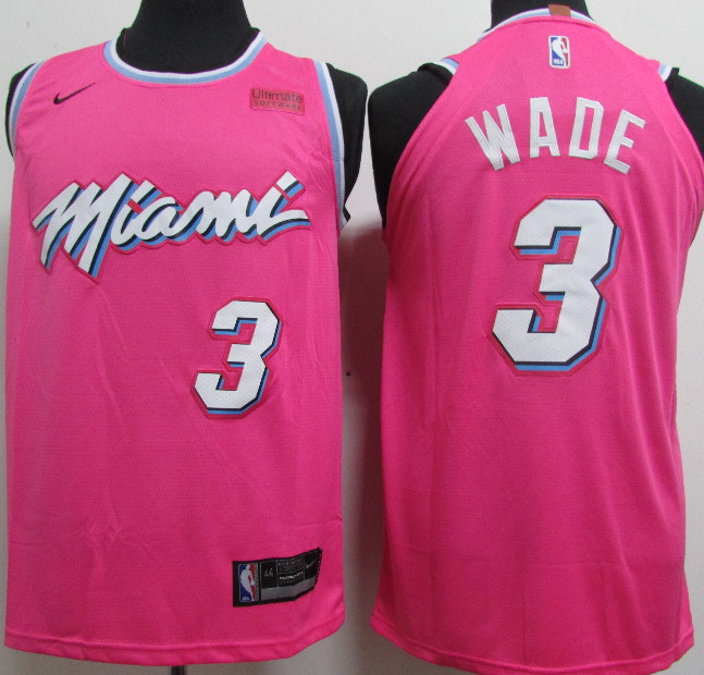 Heat 3 Dwyane Wade Pink 2018-19 Earned Edition Nike Authentic Jersey