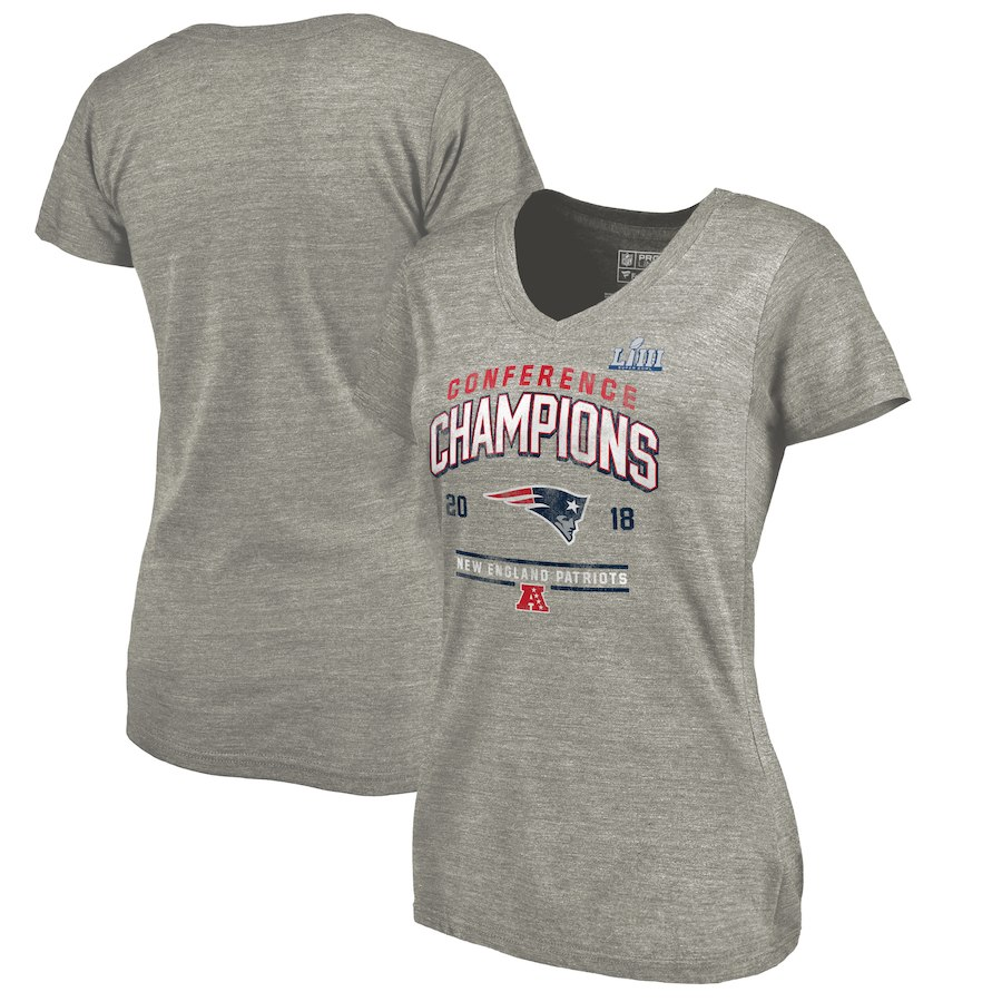 New England Patriots NFL Pro Line by Fanatics Branded Women's 2018 AFC Champions Halfback Sweep V Neck T-Shirt Heather Gray