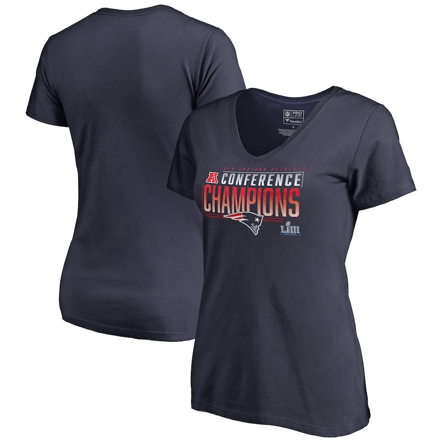 New England Patriots NFL Pro Line by Fanatics Branded Women's 2018 AFC Champions Touchback V Neck T-Shirt Navy
