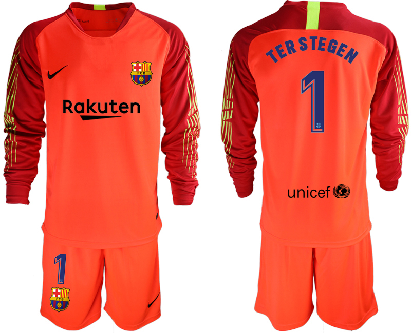 2018-19 Barcelona 1 TER STEGEN Red Long Sleeve Soccer Jersey