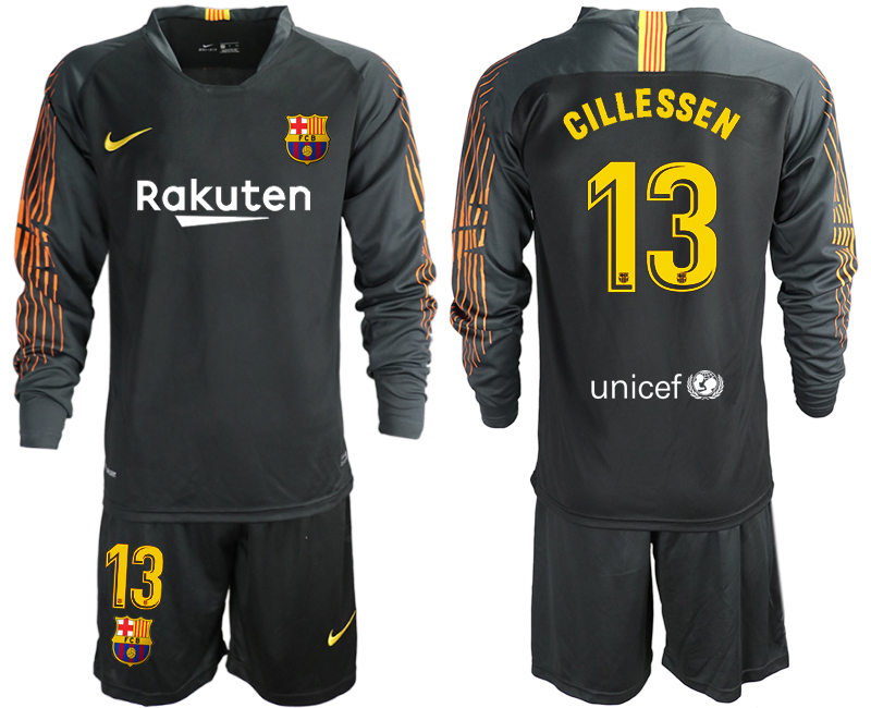 2018-19 Barcelona 13 CILLESSEN Black Long Sleeve Soccer Jersey