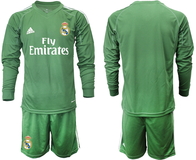 2018-19 Real Madrid Army Green Long Sleeve Goalkeeper Soccer Jersey