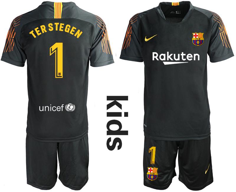 2018-19 Barcelona 1 TER STEGEN Black Youth Goalkeeper Soccer Jersey