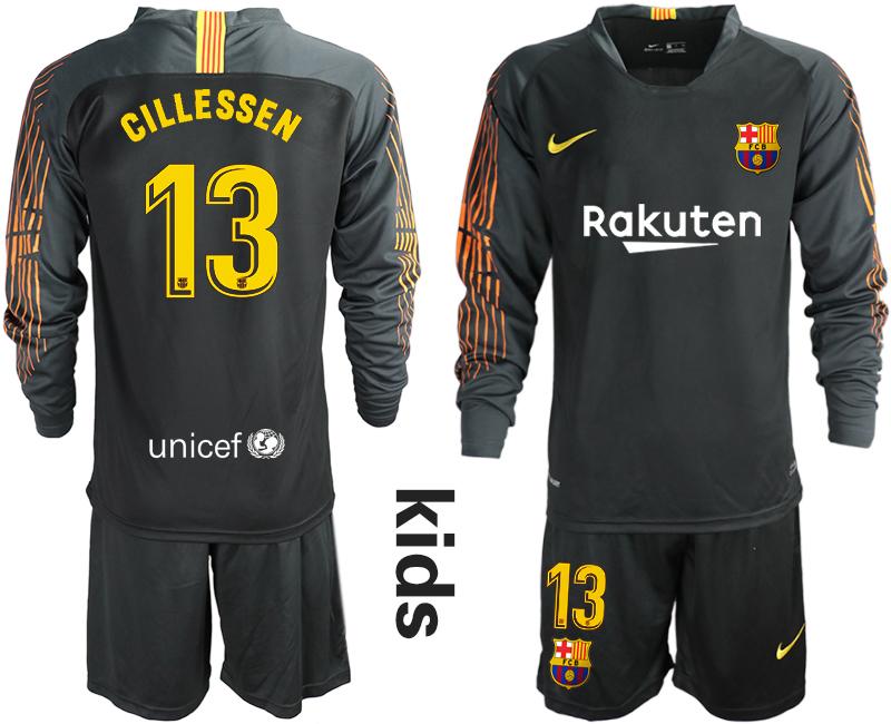 2018-19 Barcelona 13 CILLESSEN Black Long Sleeve Goalkeeper Soccer Jersey